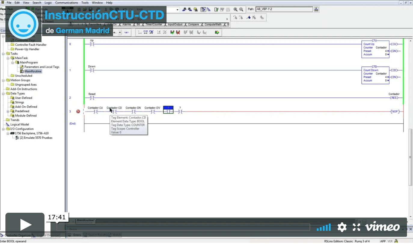 Instrucción CTU y CTD para PLC