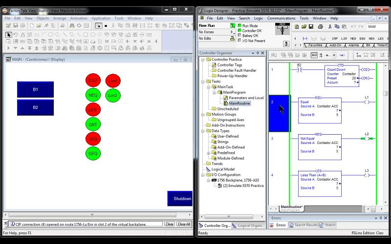 Instrucciones de Comparación básicas en un PLC