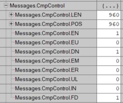 Estructura del control de comparación de una instrucción FBC