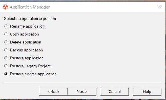 restaurar una runtime en factorytalk view