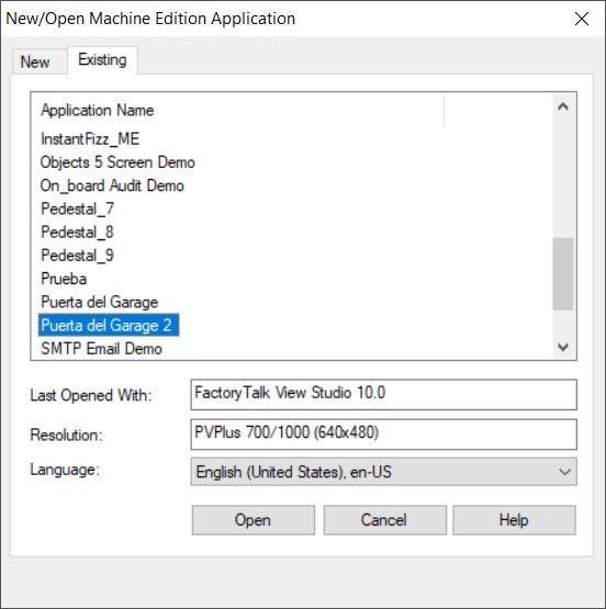 abrir una aplicación en factorytalk view